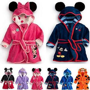 e834a0c36d Baby Kids Boys Girls Cartoon Pajamas Hooded Bath Robe Sleepwear ...