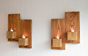 Pair of 38cm step reclaimed wood rustic wall sconces led candle holders