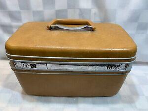 Vintage-SAMSONITE-Silhouette-Tan-Travel-Makeup-Case-Luggage-Mirror-Tray