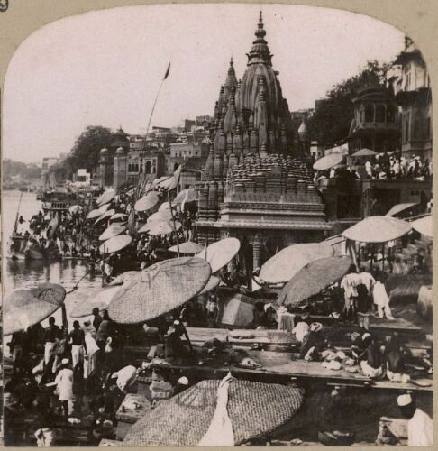 India. Temples & Ghats on the Ganges at Benares, the Most Sacred City in India