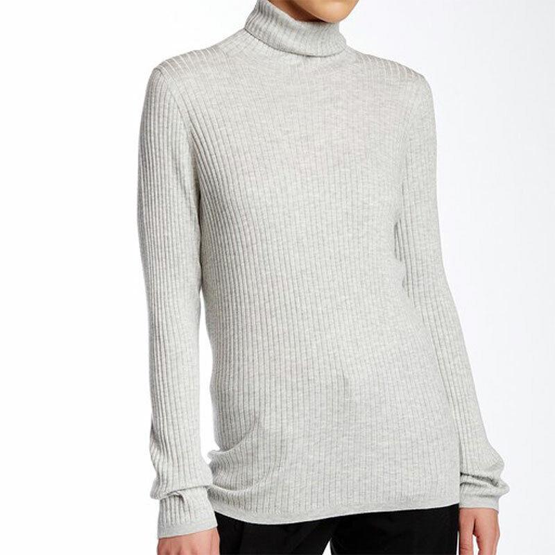 NWT VINCE. grau Cashmere Blend Turtle Neck Long Sleeve Sweater Größe XL