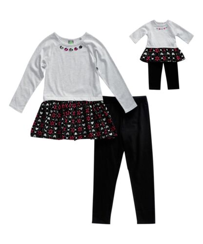 """Girl 4-14 and 18/"""" Doll Matching Gray Tunic Black Legging Outfit ft American Girl"""