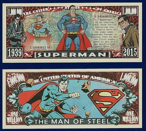 1-Superman  Dollar Bill W// clear protector sleeve Comics Fun Gift Play  Money I4