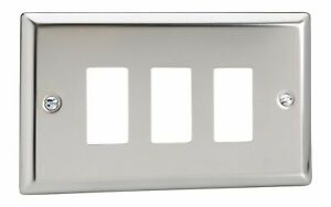 Twin Plate Varilight XDCPGY3S Screwless Polished Chrome 3 Gang PowerGrid Plate