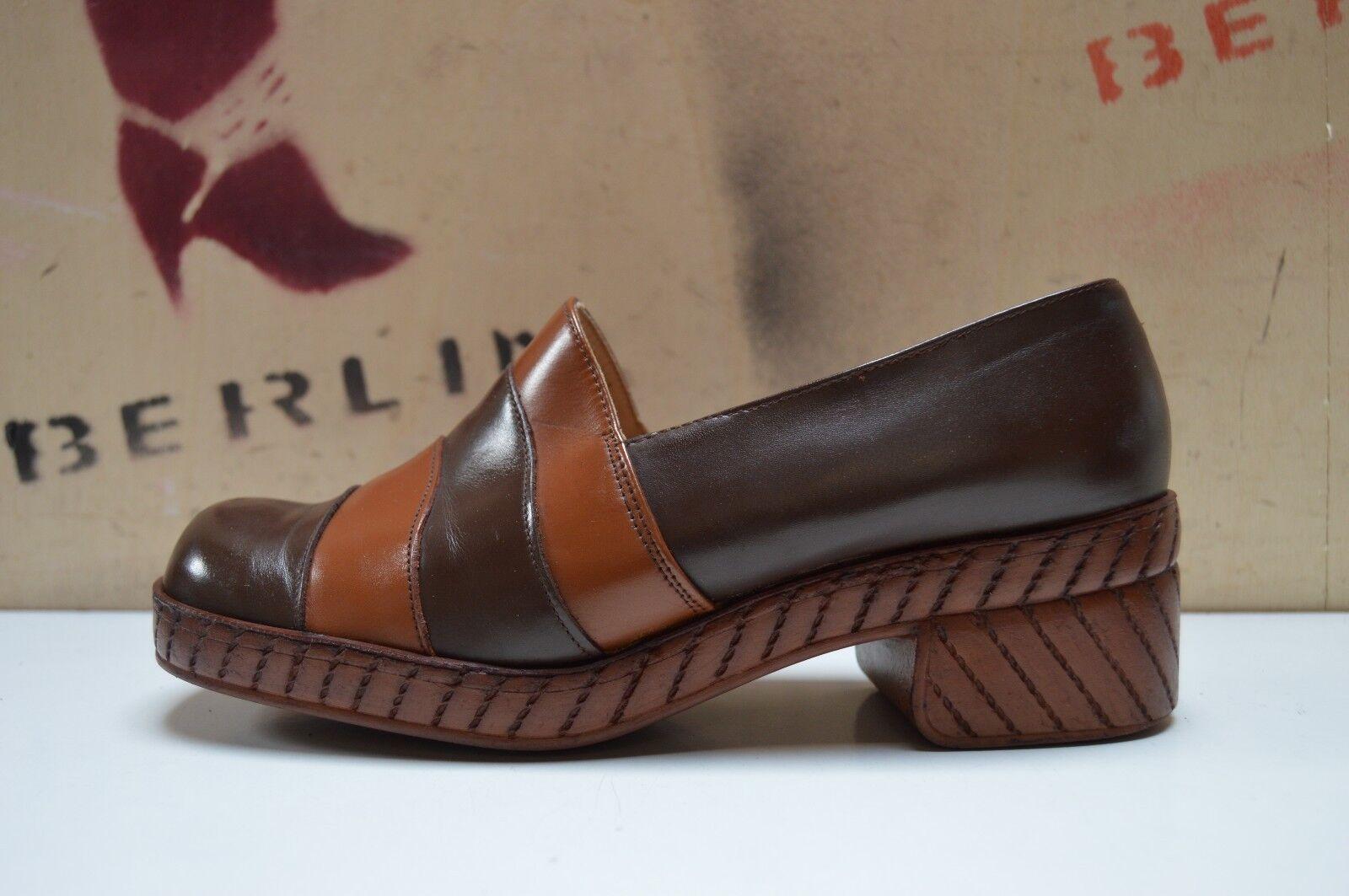 Plateau Halbschuhe Gnieza WZO 70er 70er 70er TRUE Vintage 80´s Loafer Blockabsatz brown 2d525e