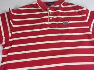 Olde-Stonewall-Polo-Shirt-VTG-Mens-Large-Striped-Golf-Red-White-Byron-Nelson