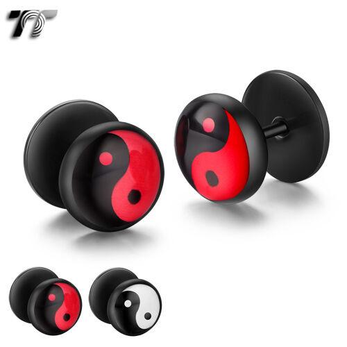 BD33 TT Clear Epoxy Black Stainless Steel Fake Ear Plug Earrings Two Colours