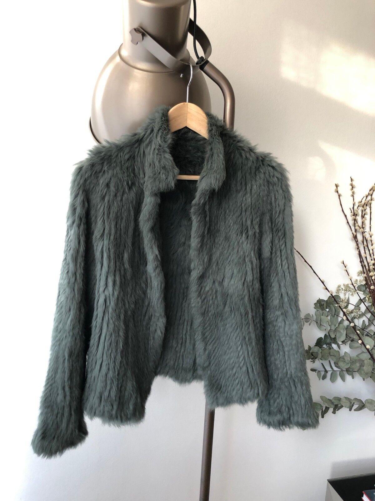 Knitted Rabbit Fur jacke -smoke Grün , Größes 8, 10 & 12