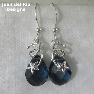 *nachtblau & Glitzernd* Quarz Tropfen Ohrringe Sternschnuppe Sterne 925 Silber Hochglanzpoliert