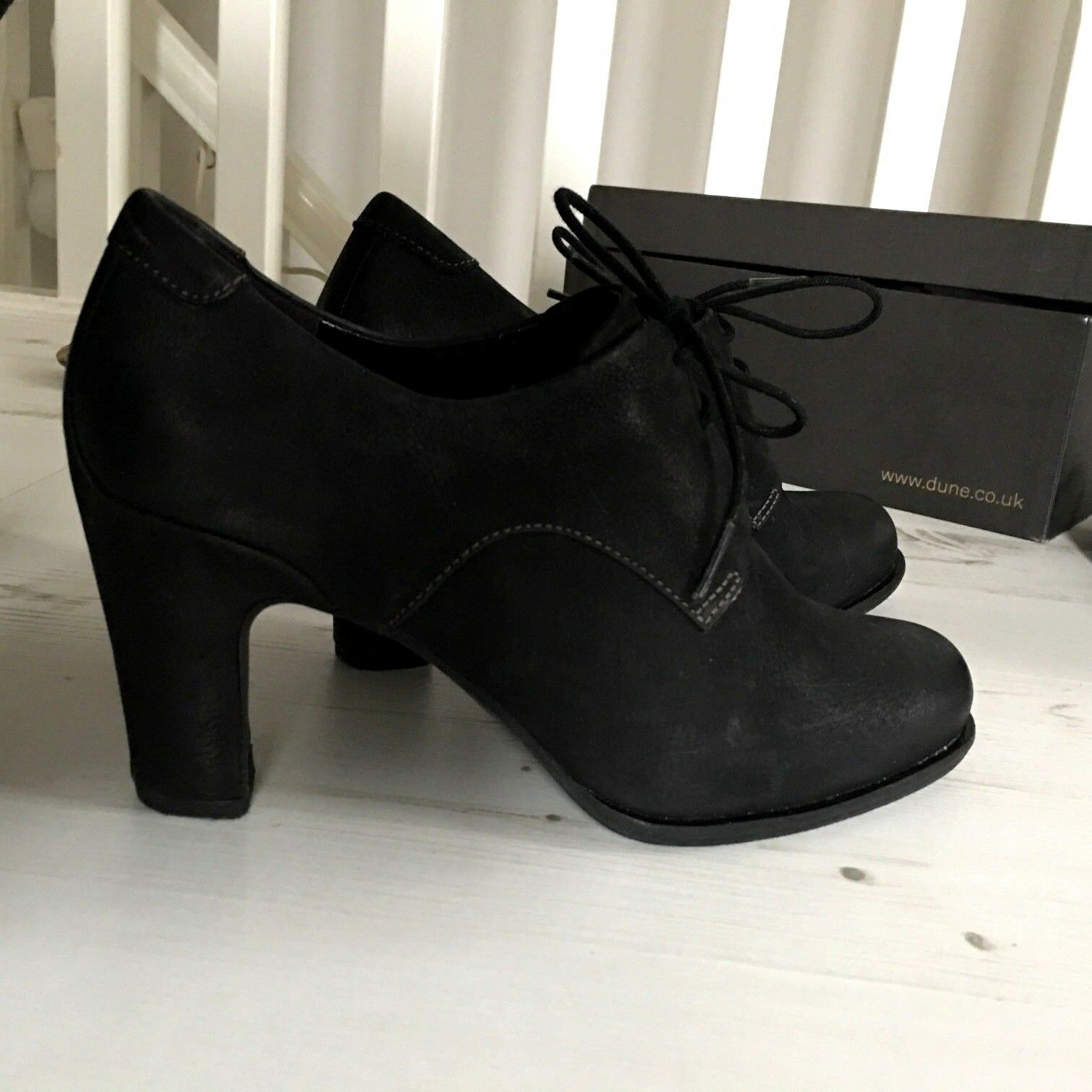 ECCO Womens Black Leather High Heel Lace Up shoes Boots UK 5 EU 38
