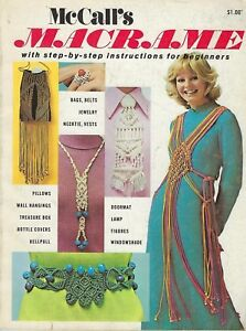 McCall's Macrame Book Beginners Step-by-Step Instructions Fashion Jewelry Vtg