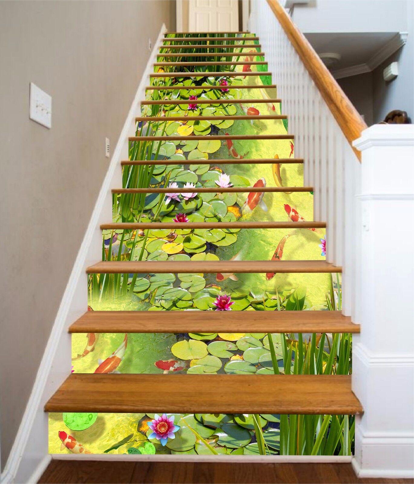 3D Grün pond fish7 Stair Risers Decoration Photo Mural Vinyl Decal Wallpaper UK