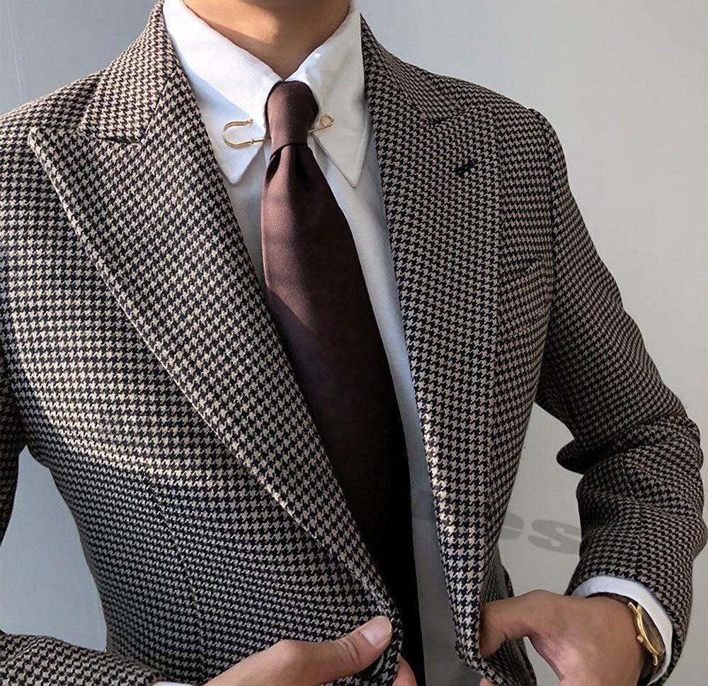 Men's Houndstooth Dog Tooth Blazer Suit Peak Lapel Tuxedos 36 38 40 42 44 46 48R