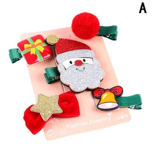 5pcs//Set Children/'s Christmas hair clip baby hair accessories Christmas  New