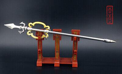 toy 1:6 chinese sword trident D3 Monk weapon Metal spear 25CM 双蛇枪 three kingdoms