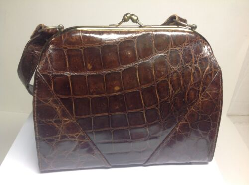 Vintage Vassar Genuine Alligator Hand Bag Purse Br