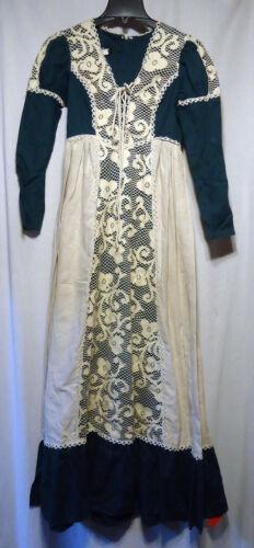 Vintage 70s Gunne Sax Prairie Dress Jacobean Green