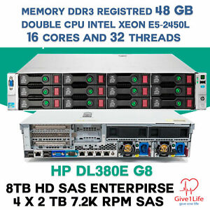 HP-DL380e-G8-14-DISCOS-2x-E5-2450L-16Cores-32-Threads-48Gb-DDR3-8Tb-SAS-SERVER