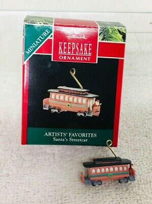 "1990 Hallmark Artist/'s Favorite /""SANTA/'S STREETCAR/"" Miniature Mini DONNA LEE"