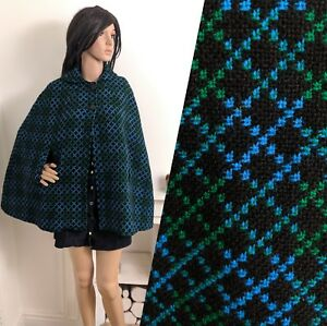 Vintage-60s-Welsh-Tapestry-Wool-Blue-Green-Geo-Short-Button-Cape-Coat-S-8-10-36