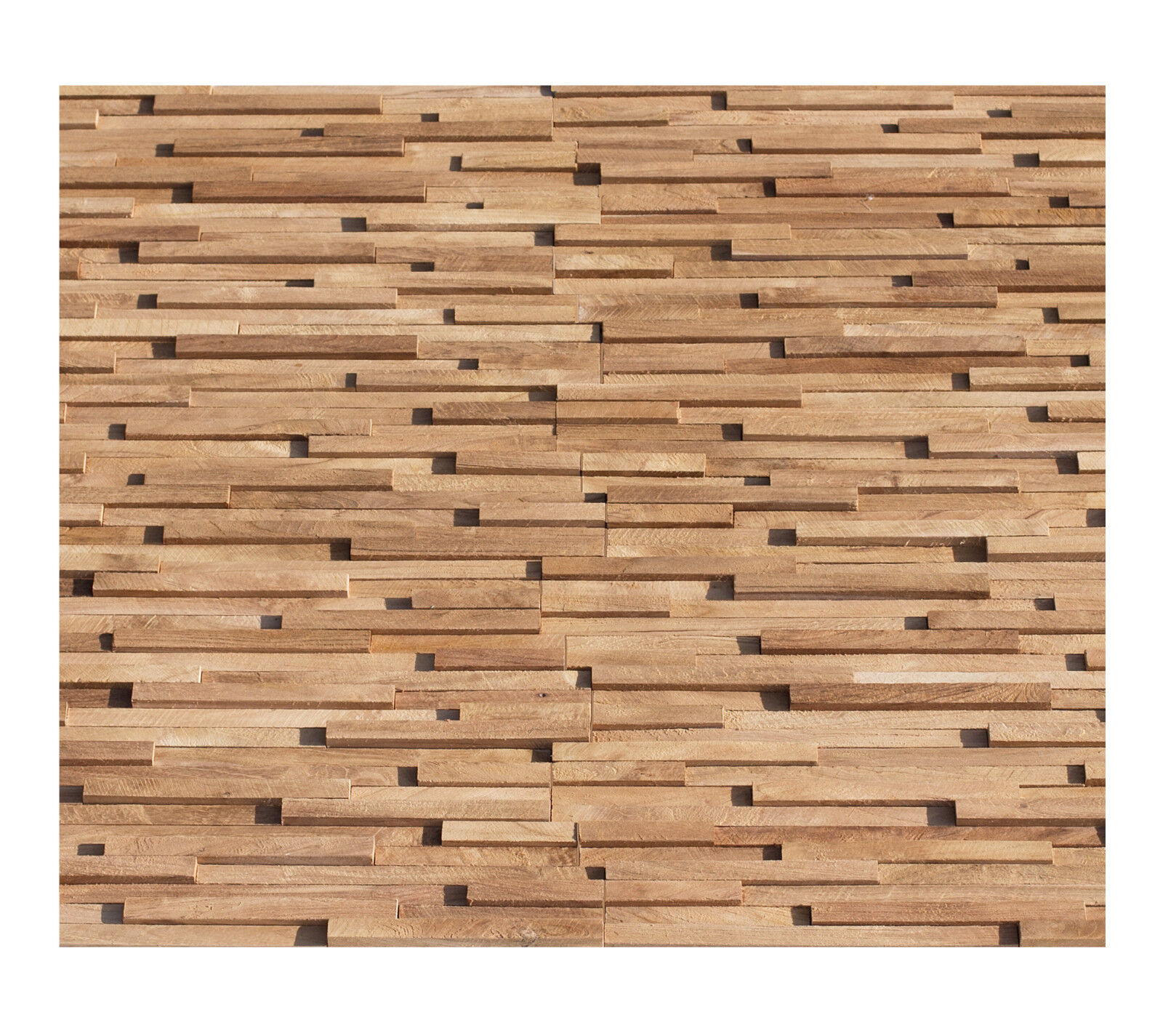 1 qm Teak Holz Mosaikfliesen HO-007 Wandverkleidung Holzwand Wanddekoration