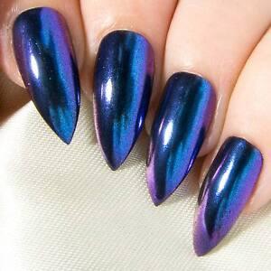 Chrome-Colour-Shifting-Chameleon-Fake-False-Glue-Press-On-Gel-Acrylic-Nails