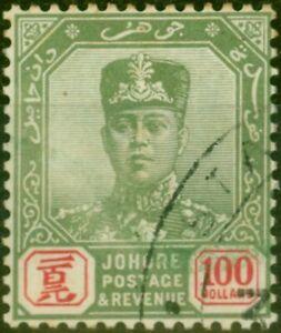 Johore 1922 $100 Green & Scarlet SG127 V.F.U Fiscal Cancel