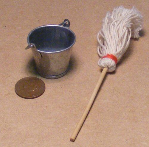 Cubo de metal grande escala 1:12 /& Fregona tumdee conjunto de limpieza de cocina de casa de muñecas