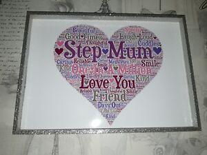step mum in a million birthday christmas gift word art