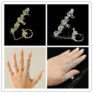Style-Ring-Multiple-Finger-Stack-Knuckle-Band-Crystal-Set-Womens-Fashion-Jewelry