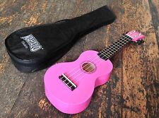 Mahalo Rainbow Gloss Pink Soprano Ukulele / Uke Fitted Aquila Strings & Gig Bag