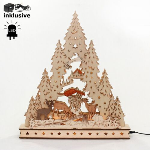 3d Lumières DEL Arc Schwibbogen dentelle avec unterbank animaux de la forêt des cerfs 10304