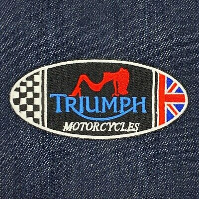 TRIUMPH MOTORCYCLES LOGO IRON ON EMBROIDERED PATCH UK FLAG OVAL