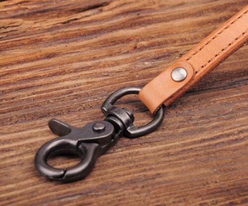 C62 Tan Homme Motard Rétro Cool Plain Leather jeans Keychains Key Portefeuille Chaîne