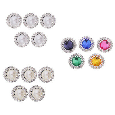 20x Alloy Crystal Pearl Paved Craft Buttons Flatback Scrapbook Embellishment