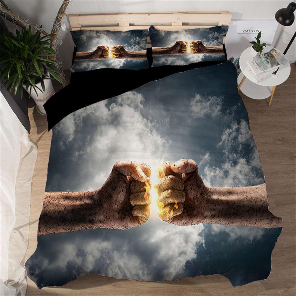 Two Strong Fist Strike 3D Digital Print Bedding Duvet Quilt Cover Pillowcase