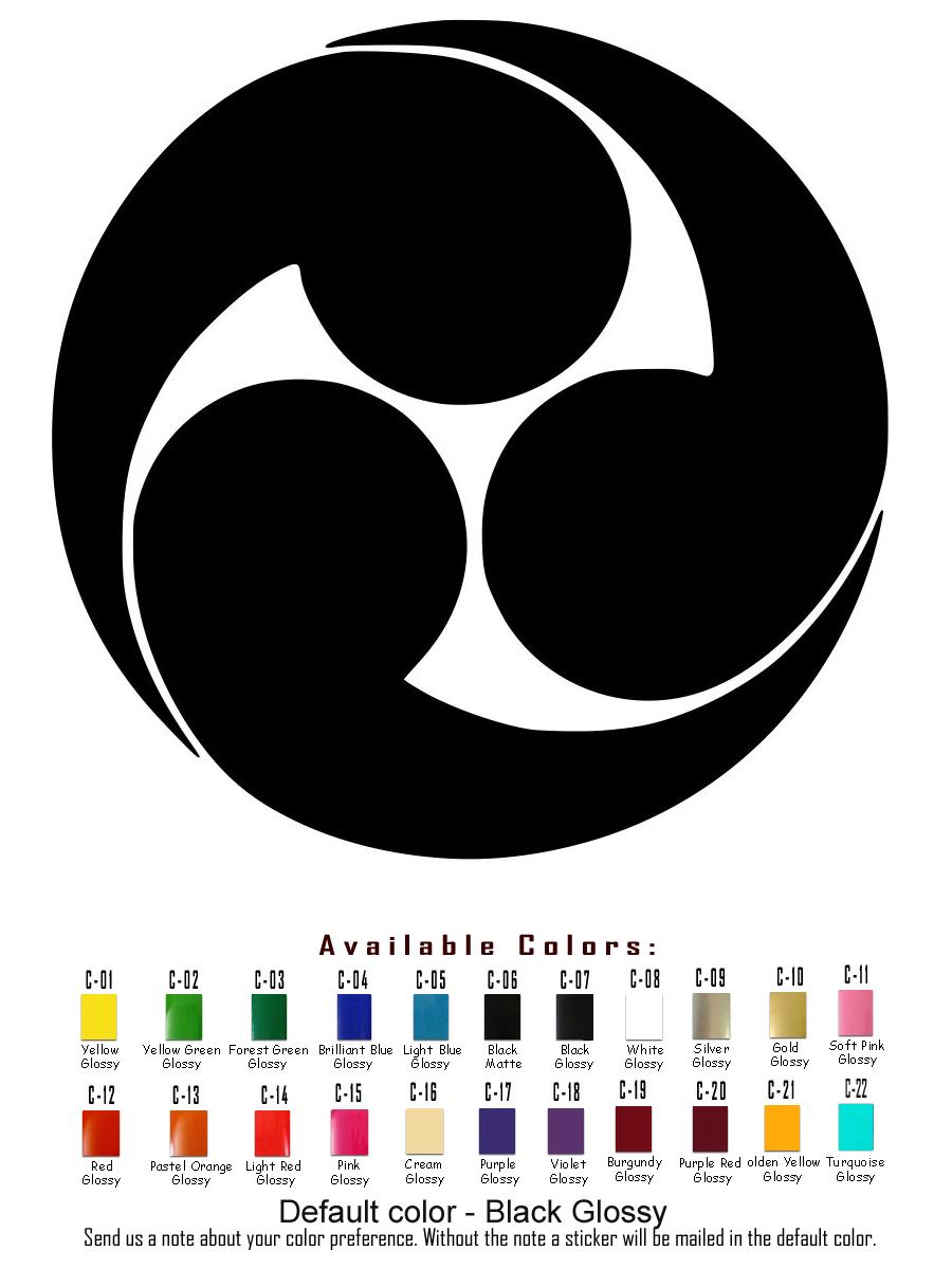 Japanese Symbols Vinyl Decal Sticker Car Mitsudomoe Hokuto Shichisei USA Seller