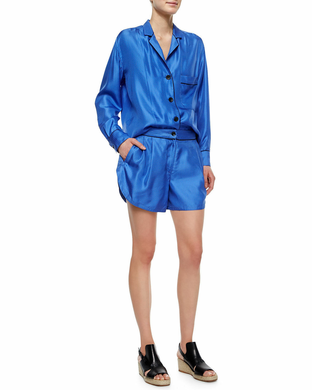 2 Piece RAG & BONE Gabrielle Celeste Silk Blouse Top Größe XS  + Shorts SZ 4
