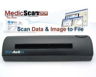 ACUANT SCANSHELL 800DX DUPLEX OCR SCANNER  with MedicScan OCR Software /& Key