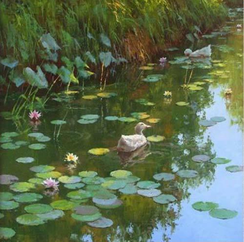 CHOP1308 handmade painted ducks in Lotus pond oil painting art on canvas