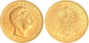 Prussia 20 Mark Gold 1893 A Wilhelm Ii. XF / Xf-Bu (45209)