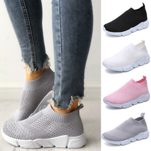 Women-Ladies-Slip-On-Trainers-Walk-Go-Sports-Comfy-Sock-Sneakers-Mesh-Shoes-Size