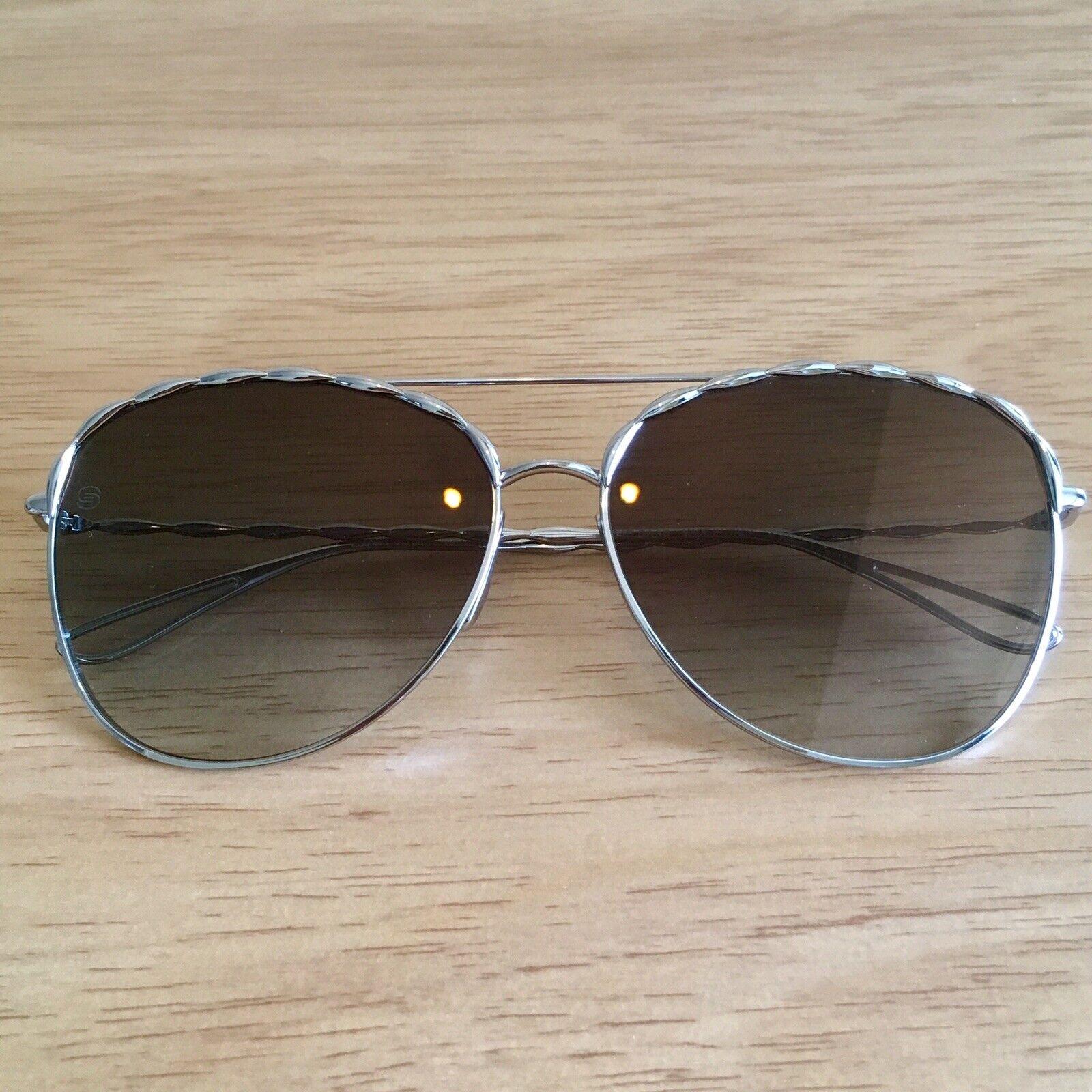 Authentic Brand New ELIE SAAB Silver Pilot Sunglasses ES008/S 84J 5B !