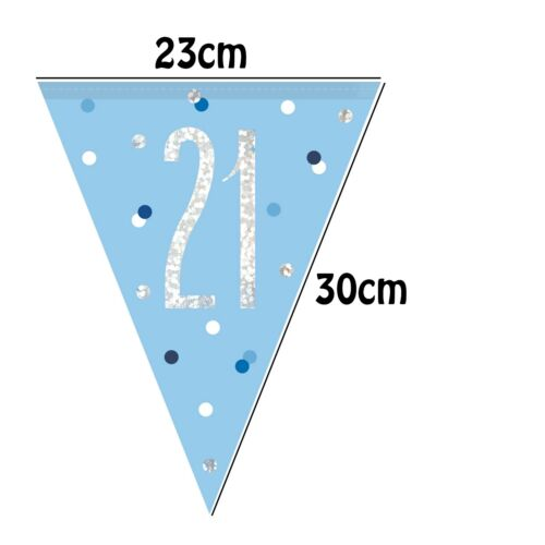 Baby Blue 21st Birthday Party Decor Tableware For 8 Cups Plates Bunting Napkins