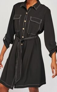 Ladies-Shirt-Dress-Pockets-Black-White-Contrast-Stitch-Size-10-12-14-16-18-20