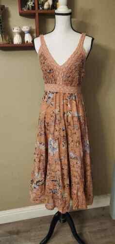 M vintage 70s prairie style mauve floral crochet c