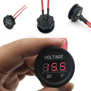 Wasserdicht-Auto-Fahrzeug-Motorrad-Blau-Rot-LED-Digital-runde-Voltage-Voltmeter