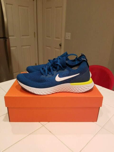 a839a79799be Nike Epic React Flyknit Green Abyss White Blue Force Men s AQ0067-302n Sz  9.5
