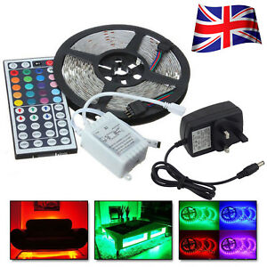 5M-3528-RGB-300-Led-SMD-Flexible-Light-Strip-Lamp-44-key-Remore-12V-Power-Supply