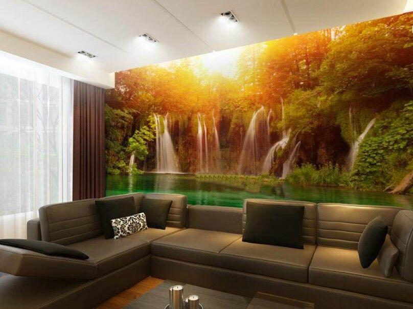 3D Sun Waterfall 76 Wall Paper Murals Wall Print Wall Wallpaper Mural AU Summer